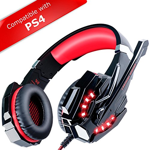 ECOOPRO Stereo Gaming Headset with Microphone - 3.5mm Over Ear Headphones - LED Lights & in-line Volume Control for PS4, PC, MAC, Mobiles Red (Range The Furniture Garden)
