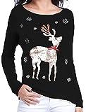Image of V28 Women Girl Ugly Christmas Shining Reindeer Snowflake Pullover Sweater Jumper (S, Black Col)