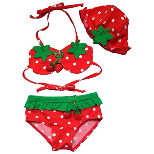 GBSELL Little Girls 3 Pcs Strawberry Cartoon Swimmable Bikini Set Swimwear (1-2Y, red)