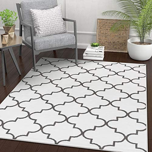 Well Woven Daisy Lattice White Moroccan Trellis 8 x 11 7 10 x 9 10 Area Rug Modern Geometric Carpet
