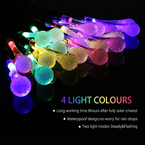 30 LED Solar String Lights,Solar Water Drop Outdoor String Lights and Halloween Christmas Day Waterproof Lights for Home, Garden, Party, Festival - Multi Color Working Condition