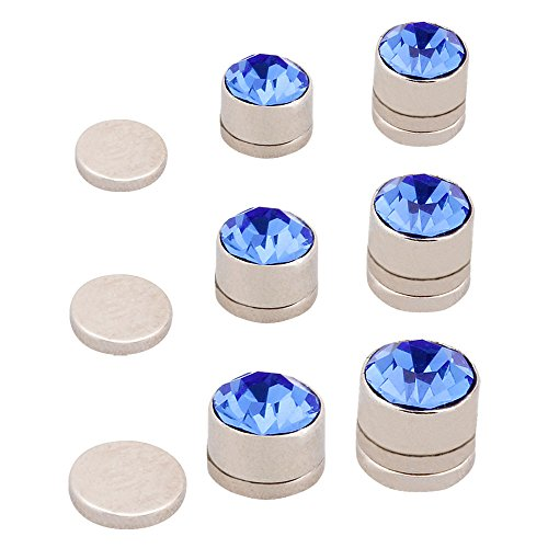 BMC 10pc Multicolor Sparkling Fashion Crystal Round Magnetic Clip On 7mm Stud Earring Set for Men/Women