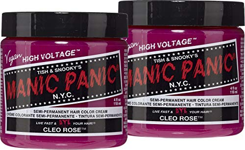 Manic Panic Cleo Rose Red Hair Color Cream (2-Pack) Classic High Voltage Semi-Permanent Hair Dye, Vivid Magenta Pink Shade For Dark Light Hair, Vegan, PPD & Ammonia-Free, Ready-to-Use, No-Mix Coloring (Cleo Rose)