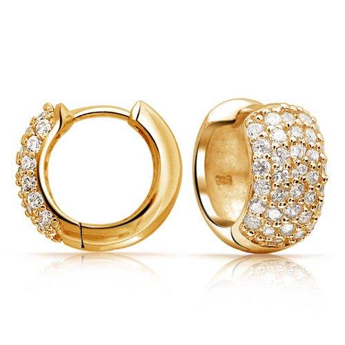 5 Five Row Pave Cubic Zirconia Wide Huggie Hoop Earrings For Women 14K Gold Plated 925 Sterling Silver (Vermeil Huggie Earrings)