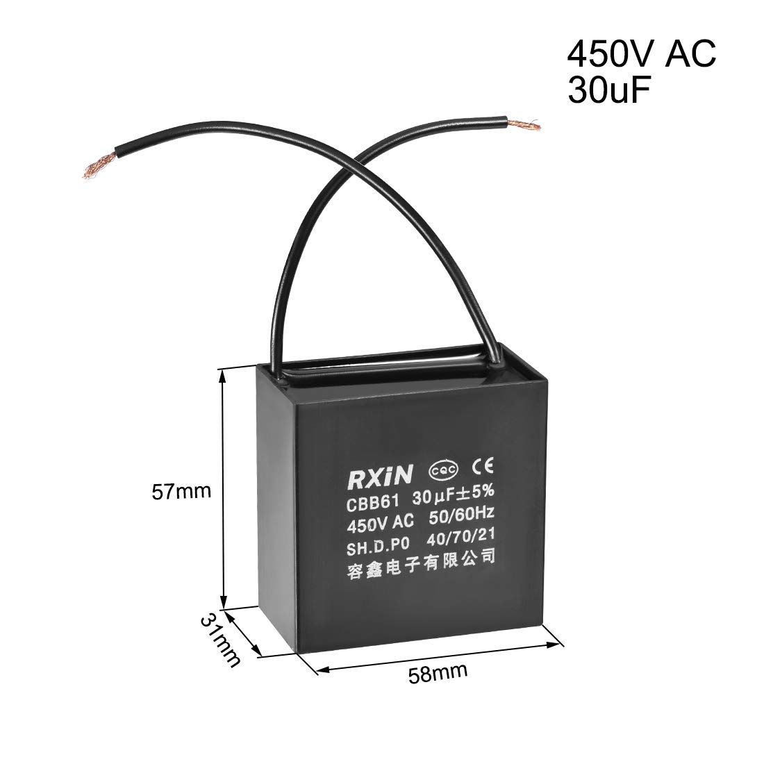 uxcell CBB61 Run Capacitor 450V AC 24uF 2-Wire Metallized Polypropylene Film Capacitors for Ceiling Fan 2Pcs