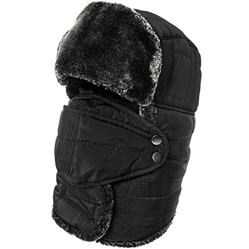 7f0dd19ef SIGGI Faux Fur Trapper Hat for Men Cotton Warm Ushanka Russian Hunting Hat