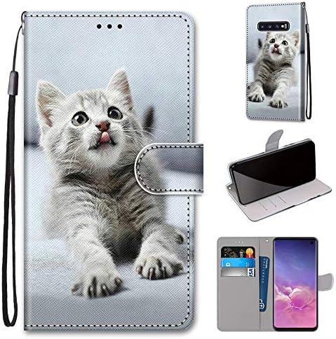 Miagon Flip PU Leder Schutzhülle für Samsung Galaxy S10 Plus,Bunt Muster Hülle Brieftasche Case Cover Ständer mit Kartenfächer Trageschlaufe,Grau Katze