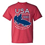 USA Bobsledding 2018 Winter Sports Games T Shirt - Small - Heather Red