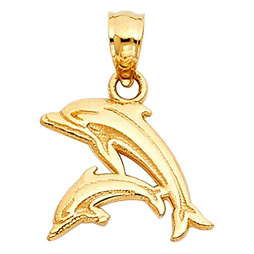 14k Yellow Gold Small/Mini Dolphin Charm Pendant (12mm x 13mm), with 18