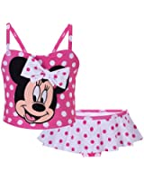 Disney Pink and White Polka Dot Minnie Mouse Swimsuit for Toddler Girls - 3T