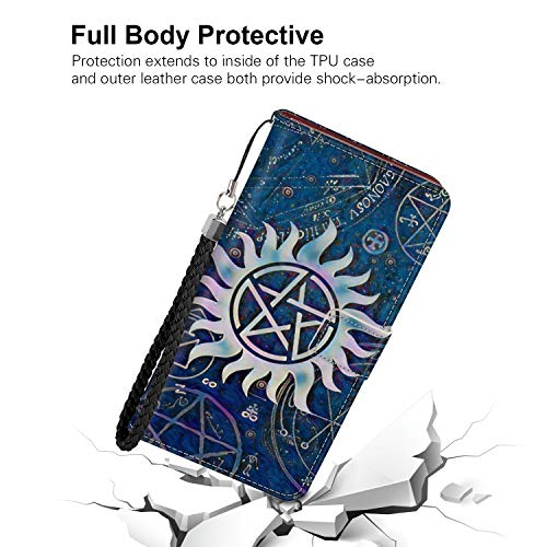 Samsung Galaxy Note 9 (2018) (6.4-Inch) Wallet Case Angels Castiel Dean Demons Galaxy Purple Sam Spells Supernatural Winchesters with Coin Slot (Winchester Button Sam)