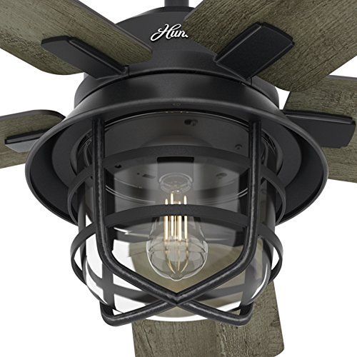Fan 54 weathered zinc outdoor ceiling fan with a clear glass led hunter fan 54 weathered zinc outdoor ceiling fan with a clear glass led light kit and remote mozeypictures