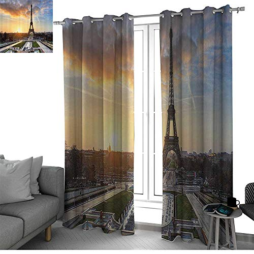 bybyhome Eiffel Tower Decor Room Divider Curtain Screen Partitions Sunrise in Paris Short Curtain with Eiffel Tower Holidays Getaways Decorative Scenic Picture W84 x L84 Inch (Paris Short)