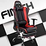 Merax Ergonomic Gaming Chair High-Back Racing chair Swivel PU Leather Computer Chair with Footrest and Lumbar Support