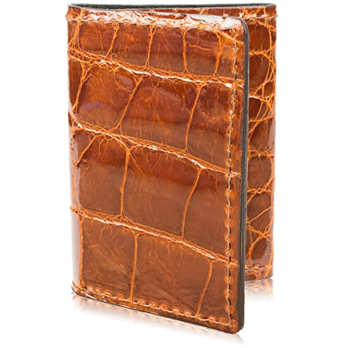 Genuine Alligator Skin Trifold Leather Wallet Handmade with 9 Card Slots -