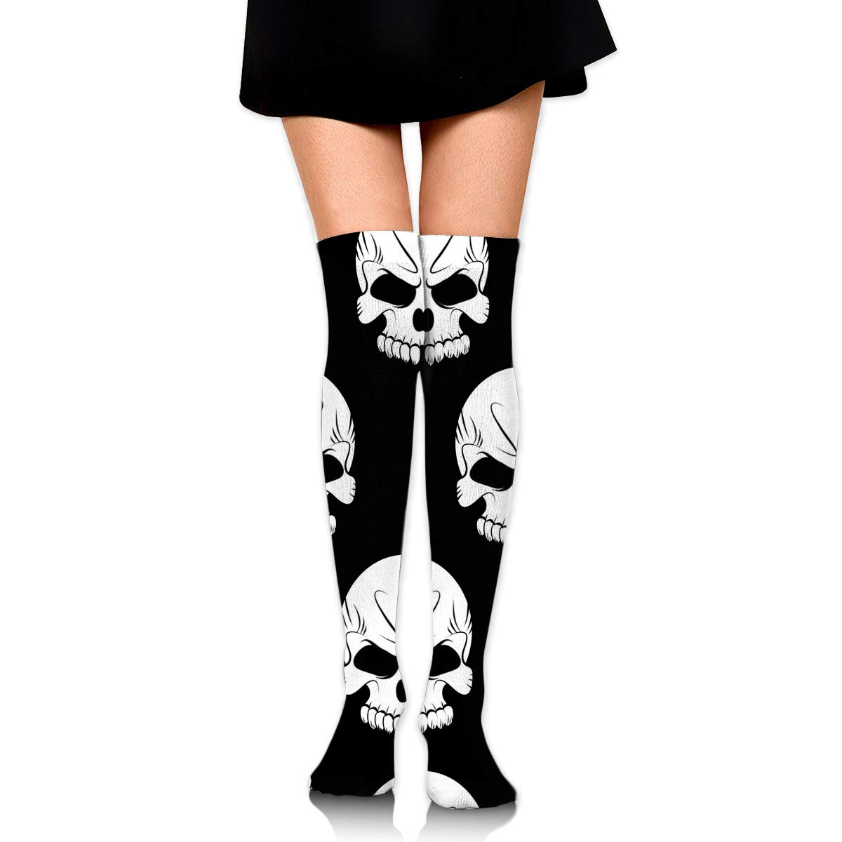 eda4c11f064 Amazon.com  SARA NELL Womens White Halloween Skeleton Skull Socks Over Knee  Thigh High Socks Stocking  Clothing
