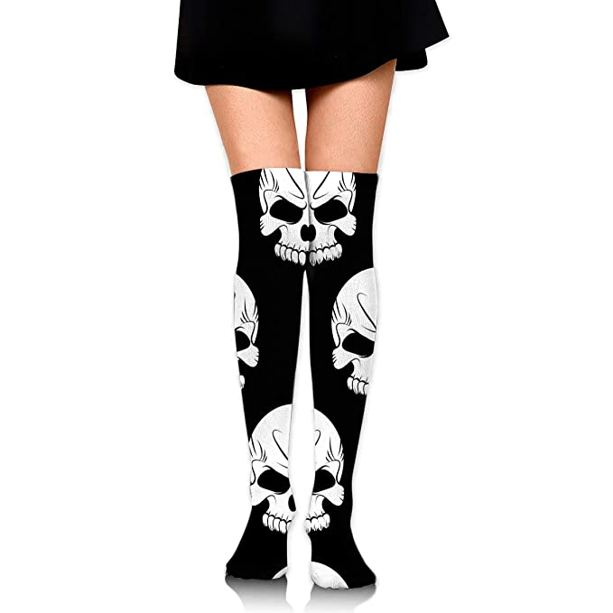 df1ef3b9fe2 Image Unavailable. Image not available for. Color  SARA NELL Womens White Halloween  Skeleton Skull Socks Over Knee ...