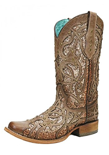 CORRAL C3275 Orix Glittered Studded Square Toe Boots (7.5) Brown