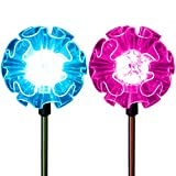 Flower Lights Solar Powered Garden Stakes Color Changing Hydrangea Outdoor Path Landscape Decoration Walkway Pathway Decor in-Ground Fixtures (Set of 2)