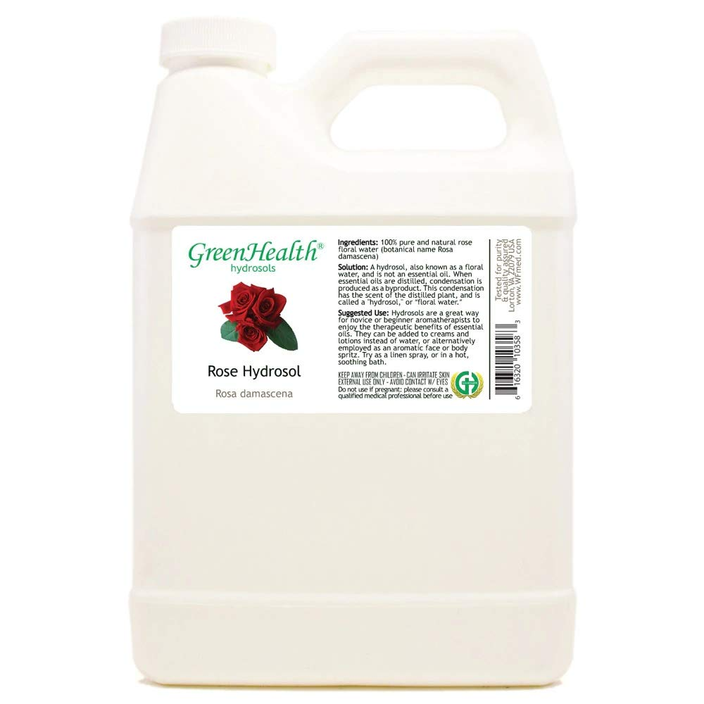 Rose Hydrosol (Floral Water) - 32 fl oz Plastic Jug w/Cap - 100% pure by GreenHealth