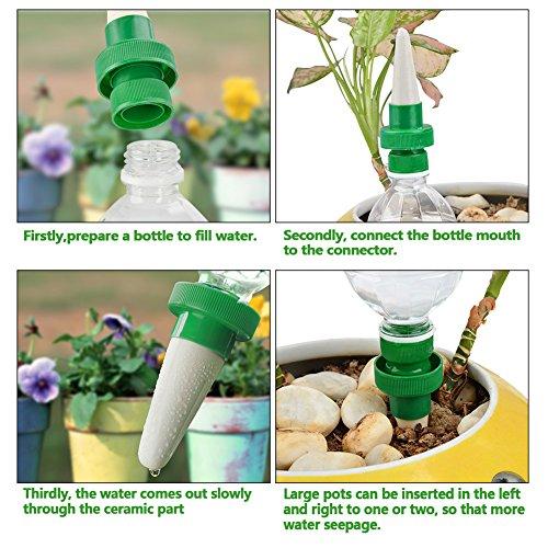 TIMESETL 4pcs Automático Planta de riego por agua dispensador cono cerámica cabeza planta vertedor riego por goteo para jardín, planta de interior, ...