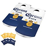 Officially Licensed Corona Can Cornhole Bean Bag Toss Game with 8 Bean Bags - Includes Bonus Mini Cornhole Tabletop Game!