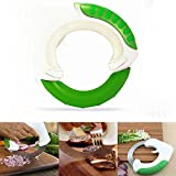 Unique Stainless Steel Rolling Knife, Circular Universal Kitchen Round Knife for BBQ Vegetable Fruit Pizza, Ergonomic Design Allows You to Be More Efficient in Cutting Meat and Vegetables, and Protect Your Wrist. (Green)