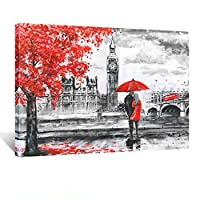 Kreative Arts Lovers Canvas Wall Art Couple Kissing in Rain with Red Umbrella Artwork Romantic Painting for Living Room Bedroom Bathroom Wall Decor Stretched and Framed Ready to Hang 24x32inch