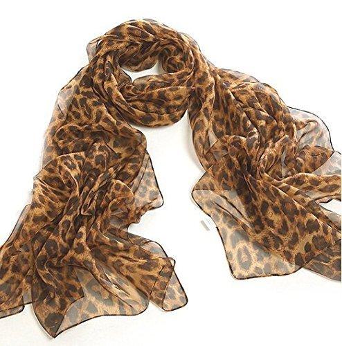 JOVANAS FASHION Leopard Animal Print Chiffon Scarf Wrap Stole Shawl (medium Brown)