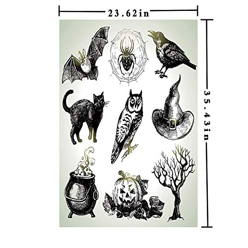 Removable Static Decorative Privacy Window Films 3D Printed, Halloween Related Pictures Drawn by Hand Raven Owl Spider Black Cat Decorative Both Suitable for Home and Office, 23.62 x 35.43 inch,Blac ()