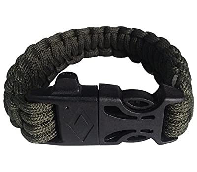 Outdoor Survival Paracord Bracelet Geekpal Includes Fire Starter, Whistle Kits, Knife, 8.6Inch of Paracord