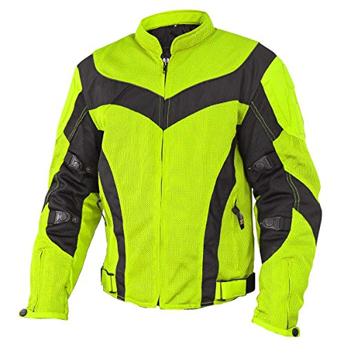 Xelement CF6019 Invasion Mens Neon Green Mesh Armored Motorcycle Jacket - ()