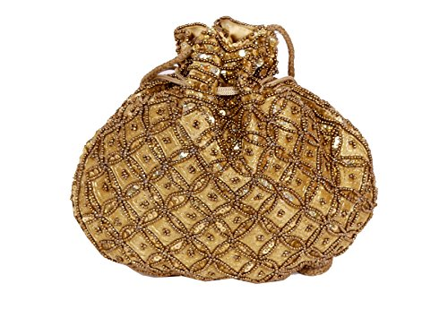 Indian sequence Potli Bag/wedding purse/jewelery purse for girls & women (Base Color- Golden)