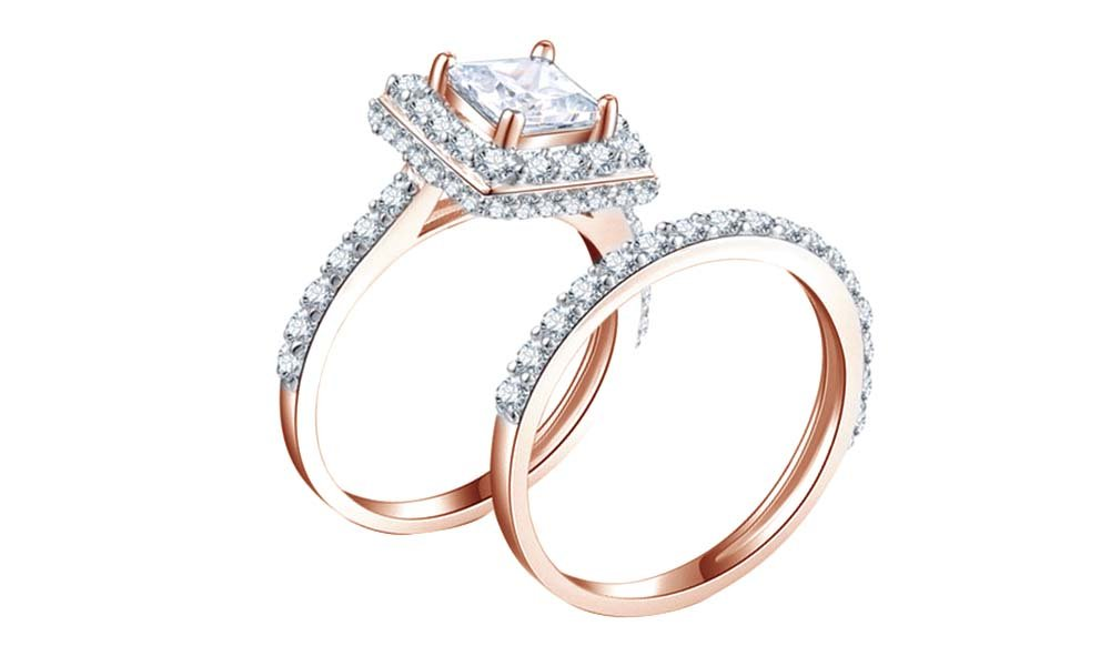 Jewel Zone US White Cubic Zirconia Halo Ring Set In 14k Rose Gold Over Sterling Silver