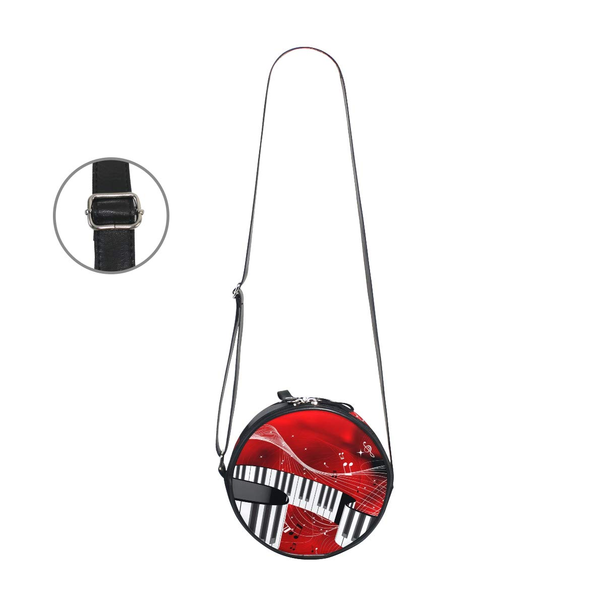 TFONE Abstract Music Piano Note Round Crossbody Bag Purse Shoulder Messenger Bag