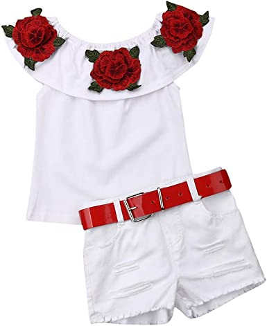 2019 Summer Red Checkered Baby Girl Clothing Top with Denim Shorts with Headband
