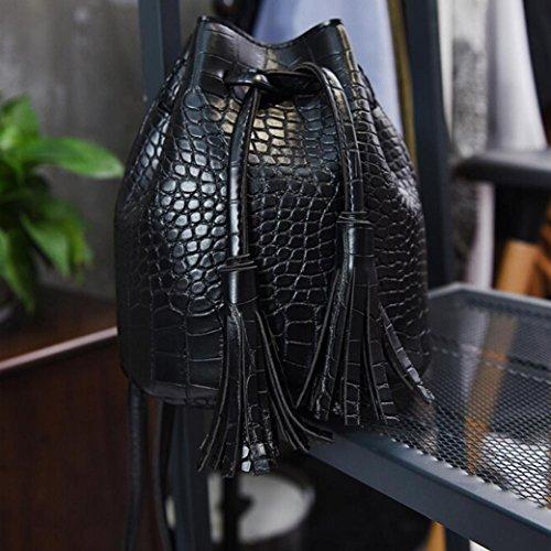 Leewa Black Girls' Bag Shoulder Bucket Leather Women Crossbody Bag Tassel zEBadn6