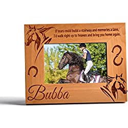 Personalized Horse Memorial Wood Photo Frame Horseshoe Heaven Custom Memorial 4x6 Vertical