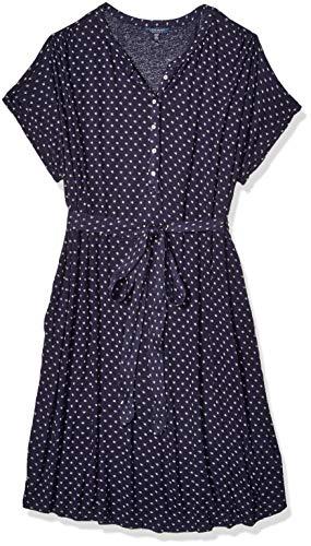 Lucky Brand Women's Plus Size Knit Henley Dress, Blue Multi, 1X