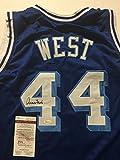 Autographed/Signed Jerry West Los Angeles LA Lakers Blue Basketball Jersey JSA COA