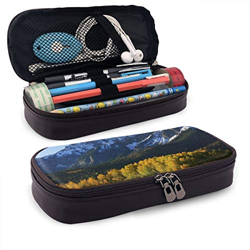 Snow Village Mountain Retreat Colorado Park Pine Region Peak Leather Big Capacity Pencil Stationary Case Compartment Box School Office Supplies Students