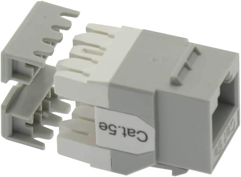 10 Pack Cat.5E RJ45 110 Type 180/° Keystone Jack Gray GOWOS