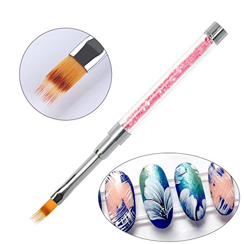 PrettyDiva Gradient Ombre Nail Brush UV Gel Nail Art Design Painting Pen for Drawing Flower Striping Lines Nails Tips Gradual Color Change (Design Brush)