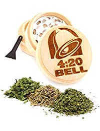 Bargain 420 Bell Engraved Premium Natural Wooden Grinder Item # PW91316-18 cheapest