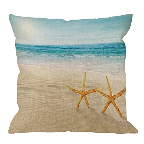 HGOD DESIGNS Throw Pillow Cover Beach Starfish and Seas Oceans Blue Sky Seashells on the Sand Home Decorative Pillow Cases Cotton Linen Square Cushion Covers For Sofa Couch 18x18 ()