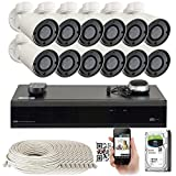 GW 16 Channel H.265 4K NVR 5MP IP Network PoE PTZ Camera System, 12pcs 5MP 1920p PoE 4X Optical Pan Tilt Zoom Bullet Security Camera, 130ft Night Vision, 4TB Hard Drive Included