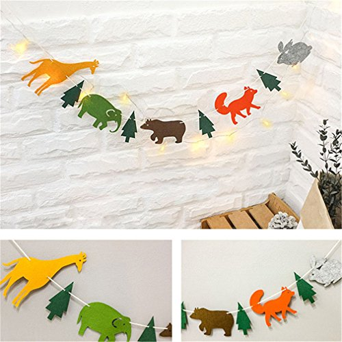 Dearaa 15Pcs/Pack 2M Happy Family Baby Shower Cartoon Animal Garland Soild Paper Flags Banner Decor Birthday Party Supplies For Kids by Dearaa