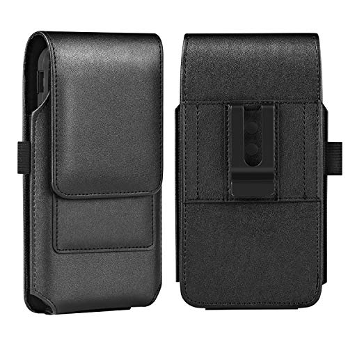 BECPLT iPhone Xs MAX Holster Case, iPhone 8 Plus 7 Plus Belt Clip Case, Premium Leather Holster Pouch Case Belt Clip with Card Holder for iPhone Xs Max / 6 Plus/ 6S Plus (Fit w/Thin Case on) (Black)