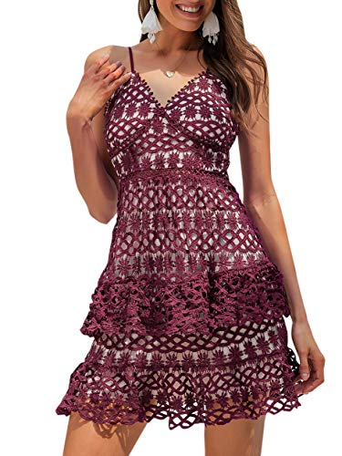 BerryGo Women's Sexy Ruffle Aline Dress V Neck Ruffle Mini Dress Burgundy
