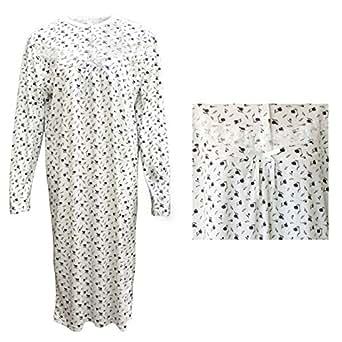 Zmart Australia 100% Cotton Women Nightie Night Gown Pajamas Pyjamas Winter Sleepwear PJs Dress, Purple Flowers, 12